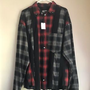 Lost General plaid shirt record buttons beaded